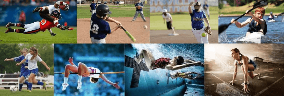 baseball, soccer, swimming, athletics